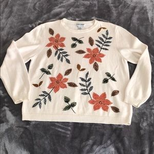 Vintage Sweater Floral Embroidery & Beading
